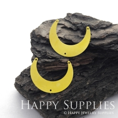 4pcs Corroded Raw Brass Moon Charm / Pendant, Fit For Necklace, Earring, Brooch (RD529)