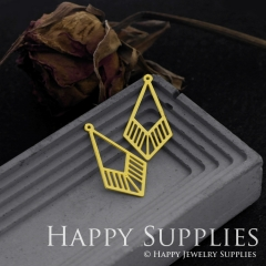 6pcs Raw Brass Geometric Necklace Charm, Geometric Earrings Pendant, Geometric Charm Brass Findings, Triangle Charm (RD552)