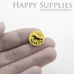 The Unicorn Charm - Raw Brass Wording Charm Engraving Unicorn Necklace Bracelet Earrings Brass Findings - Round Charm (RDE018)