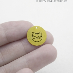 Cat Charm - Raw Brass Wording Charm Engraving Cat Necklace Bracelet Earrings Brass Findings - Round Charm (RDE013)