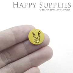 The Rabbit Charm - Raw Brass Wording Charm Engraving Rabbit Necklace Bracelet Earrings Brass Findings - Round Charm (RDE017)