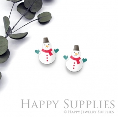 4pcs (2 Pair) Laser Cut Mini Acrylic Resin Christmas Snowman Laser Cut Jewelry Pendant / Charm, Fit For Earring, Ring (AR290)