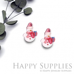 4pcs (2 Pair) Laser Cut Mini Acrylic Resin Lovely Christmas Snowman Laser Cut Jewelry Pendant / Charm, Fit For Earring, Ring (AR296)