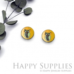 4pcs (2 Pair) Laser Cut Mini Acrylic Resin Owl Laser Cut Jewelry Pendant / Charm, Fit For Earring, Ring (AR291)