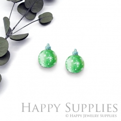 4pcs (2 Pair) Laser Cut Mini Acrylic Resin Green Christmas Ball Laser Cut Jewelry Pendant / Charm, Fit For Earring, Ring (AR297)
