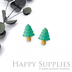 4pcs (2 Pair) Laser Cut Mini Acrylic Resin Christmas Tree Laser Cut Jewelry Pendant / Charm, Fit For Earring, Ring (AR293)