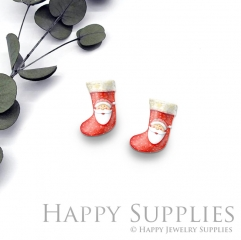 4pcs (2 Pair) Laser Cut Mini Acrylic Resin Christmas Socks Laser Cut Jewelry Pendant / Charm, Fit For Earring, Ring (AR295)