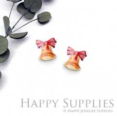 4pcs (2 Pair) Laser Cut Mini Acrylic Resin Jingling Bell Laser Cut Jewelry Pendant / Charm, Fit For Earring, Ring (AR294)