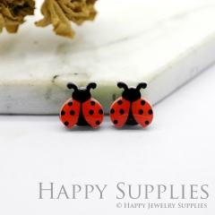4pcs (2 Pairs) Laser Cut Mini Acrylic Resin Ladybirds Laser Cut Jewelry Pendant / Charm, Fit For Earring, Ring (AR236)