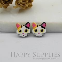 4pcs (2 Pairs) Laser Cut Mini Acrylic Resin Cats Laser Cut Jewelry Pendant / Charm, Fit For Earring, Ring (AR259)