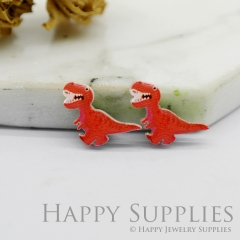 4pcs (2 Pairs) Laser Cut Mini Acrylic Resin Dinosaur Laser Cut Jewelry Pendant / Charm, Fit For Earring, Ring (AR253)