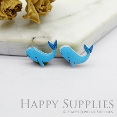 4pcs (2 Pairs) Laser Cut Mini Acrylic Resin Whales Laser Cut Jewelry Pendant / Charm, Fit For Earring, Ring (AR240)