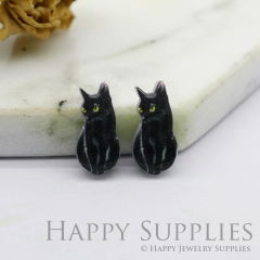 4pcs (2 Pairs) Laser Cut Mini Acrylic Resin Cat Laser Cut Jewelry Pendant / Charm, Fit For Earring, Ring (AR252)