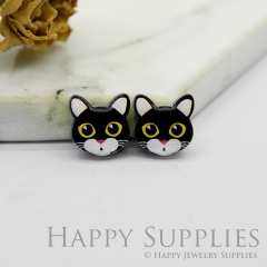 4pcs (2 Pairs) Laser Cut Mini Acrylic Resin Cat Laser Cut Jewelry Pendant / Charm, Fit For Earring, Ring (AR255)