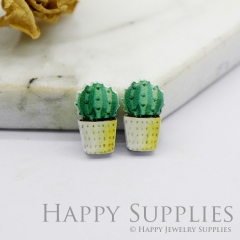 4pcs (2 Pairs) Laser Cut Mini Acrylic Resin Cactus Laser Cut Jewelry Pendant / Charm, Fit For Earring, Ring (AR242)