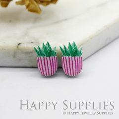 4pcs (2 Pairs) Laser Cut Mini Acrylic Resin Potted Plants Laser Cut Jewelry Pendant / Charm, Fit For Earring, Ring (AR234)