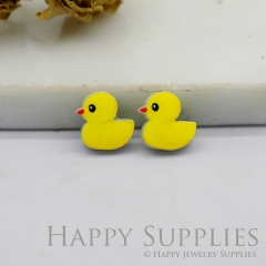 4pcs (2 Pairs) Laser Cut Mini Acrylic Resin Ducks Laser Cut Jewelry Pendant / Charm, Fit For Earring, Ring (AR260)