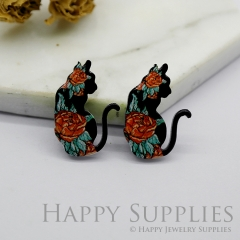 4pcs (2 Pairs) Laser Cut Mini Acrylic Resin Cat Laser Cut Jewelry Pendant / Charm, Fit For Earring, Ring (AR271)