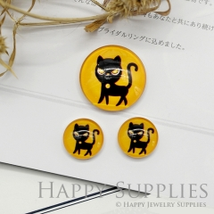 10pcs Handmade Round Photo Glass Cabochon 12mm/20mm/25mm/30mm Halloween Cat Photo Cabochon (PGC-016)