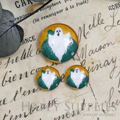 10pcs Handmade Round Photo Glass Cabochon 12mm/20mm/25mm/30mm Halloween Ghosts Photo Cabochon (PGC-021)