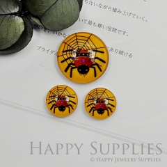 10pcs Handmade Round Photo Glass Cabochon 12mm/20mm/25mm/30mm Halloween Spider Cabochon (PGC-028)