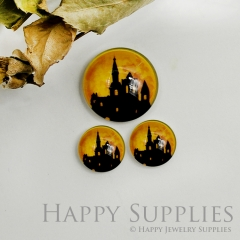 10pcs Handmade Round Photo Glass Cabochon 12mm/20mm/25mm/30mm Halloween Castle Cabochon (PGC-034)