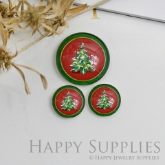 10pcs Handmade Round Photo Glass Cabochon 12mm/20mm/25mm/30mm Colorful Christmas Trees Photo Cabochon (PGC-024)