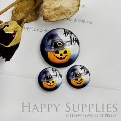 10pcs Handmade Round Photo Glass Cabochon 12mm/20mm/25mm/30mm Halloween Pumpkin Cabochon (PGC-030)