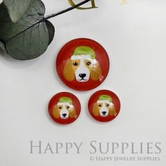 10pcs Handmade Round Photo Glass Cabochon 12mm/20mm/25mm/30mm Colorful Dog Photo Cabochon (PGC-019)
