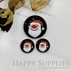 10pcs Handmade Round Photo Glass Cabochon 12mm/20mm/25mm/30mm Colorful Santa Claus Cabochon (PGC-029)