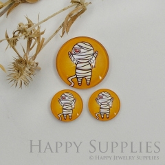 10pcs Handmade Round Photo Glass Cabochon 12mm/20mm/25mm/30mm Halloween Mummy Photo Cabochon (PGC-048)