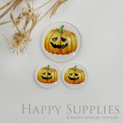 10pcs Handmade Round Photo Glass Cabochon 12mm/20mm/25mm/30mm Halloween Pumpkin Photo Cabochon (PGC-045)