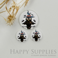10pcs Handmade Round Photo Glass Cabochon 12mm/20mm/25mm/30mm Halloween Owl Photo Cabochon (PGC-044)