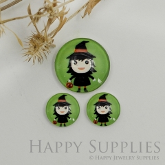 10pcs Handmade Round Photo Glass Cabochon 12mm/20mm/25mm/30mm Halloween Witches Photo Cabochon (PGC-052)