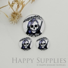 10pcs Handmade Round Photo Glass Cabochon 12mm/20mm/25mm/30mm Halloween Skull Photo Cabochon (PGC-050)