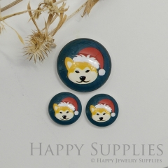 10pcs Handmade Round Photo Glass Cabochon 12mm/20mm/25mm/30mm Christmas Fox Photo Cabochon (PGC-053)