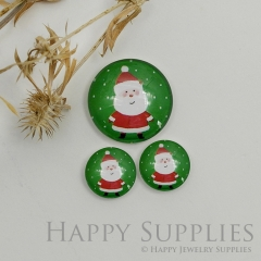 10pcs Handmade Round Photo Glass Cabochon 12mm/20mm/25mm/30mm Christmas Santa Claus Photo Cabochon (PGC-047)