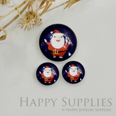 10pcs Handmade Round Photo Glass Cabochon 12mm/20mm/25mm/30mm Christmas Santa Claus Cabochon (PGC-039)