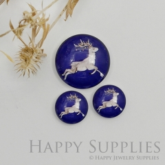10pcs Handmade Round Photo Glass Cabochon 12mm/20mm/25mm/30mm Christmas Elk Photo Cabochon (PGC-046)