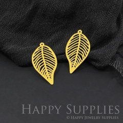 Raw Brass Leaf Geometric Charm / Pendant, Fit For DIY Leaf Geometry Necklace, Brass Brooch, Leaf Geometry Earrings (RD586)
