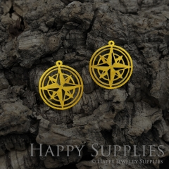 Raw Brass Compass Geometric Charm / Pendant, Fit For DIY Geometry Necklace, Brass Brooch,Compass Geometry Earrings (RD582)