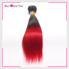 12-26 Inch no tangle 100% Ombre hair extension #1B/red color natural straight
