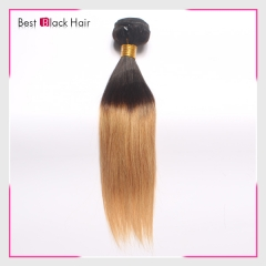 12-26 Inch Soft 100% Ombre hair weave #1B/27 color natural straight