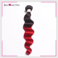 12-26 Inch healthy 100% ombre hair  #1B/RED loose wave
