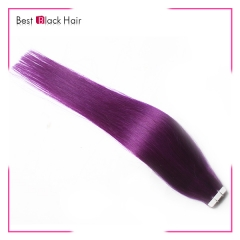 18-24 Inch Straight Tape Hair Extension purple tape in remy hair skin weft human hair extension