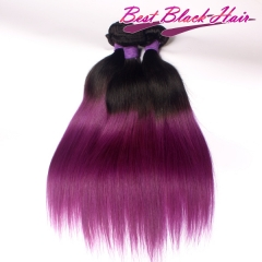 12-28 Inch healthy 100% ombre hair  #1B/purple Straight