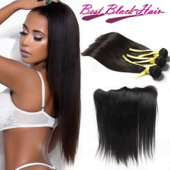 12-28 Inch Top Grade Malaysian Straight Human Hair 3pcs and 1pc Lace Frontal Closure Deal Virgin Hair Extensions