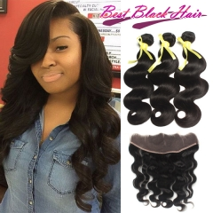 12-28 Inch Top GradeBrazilian Body Wave Human Hair 3pcs and 1pc Lace Frontal Closure Deal Brazilian Hair Extensions