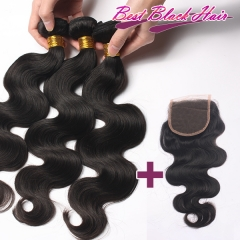 8-26 Inch Good Quality Cheap Human Hair Weave Body Wave 3 bundles+1 Lace Closure  Free Shipping
