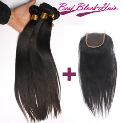 8-26 Inch Good Quality Cheap Human Hair Straight 3 bundles+1 Lace Closure  Free Shipping